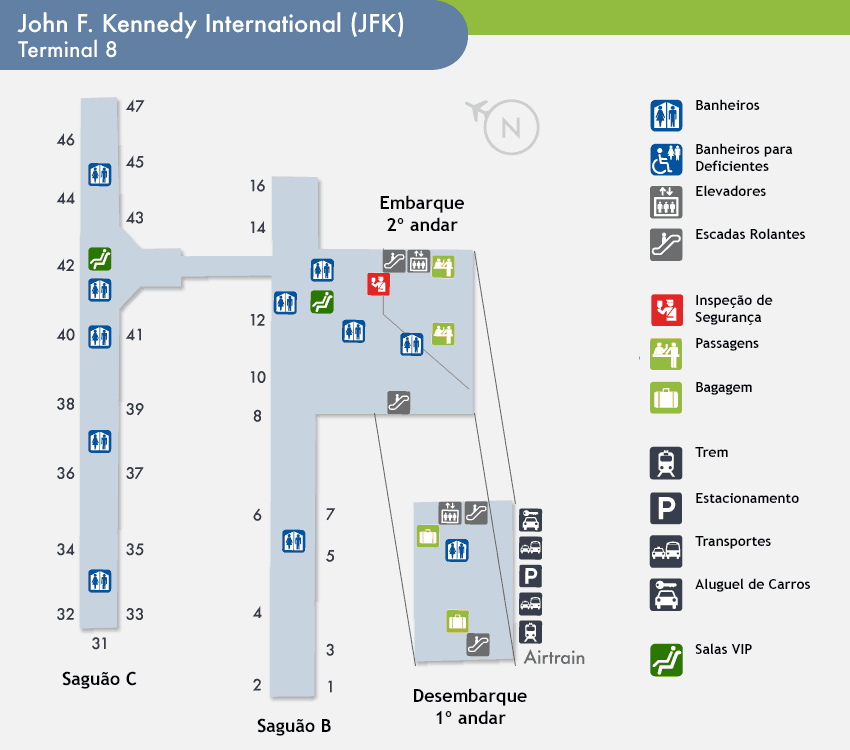 Jfk Airport Terminal 8 Nyc: Aeroporto De Atlanta Usa Mapa At Usa Maps